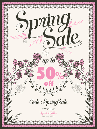 retro spring sale poster template design with pink roses