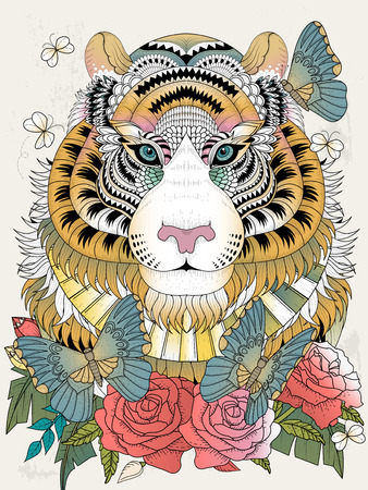 imposing: Imposing tiger with floral element - adult coloring page