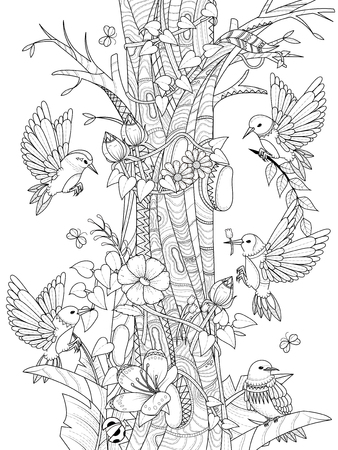 animales silvestres: aves con elementos florales - Colorear adultos
