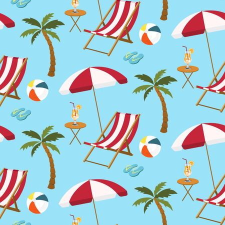 Seamless pattern of beach settings with chair. parasol. palm tree. ball. slippers and juice on blue background