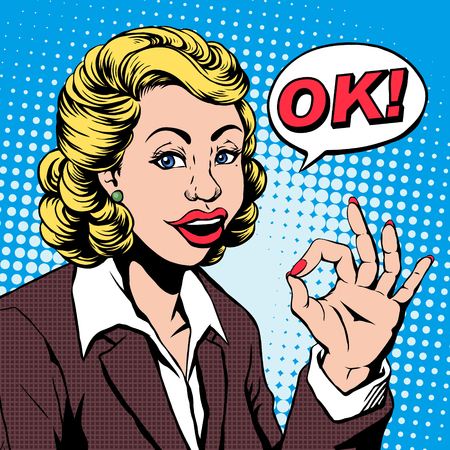 woman business suit: pop art illustration - business woman says OK in retro comic style Illustration