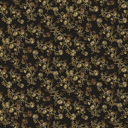 tiny: Seamless pattern with tiny flowers and leaves over black background