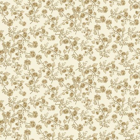ベージュの背景の上の葉と小さな花のシームレス パターン