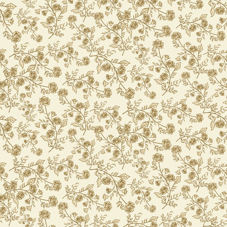 Seamless pattern with tiny flowers and leaves over beige background