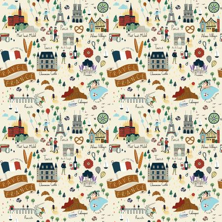 Naadloos patroon van bezienswaardigheden en populaire dingen in Frankrijk - Reis concept achtergrond. Stock Illustratie