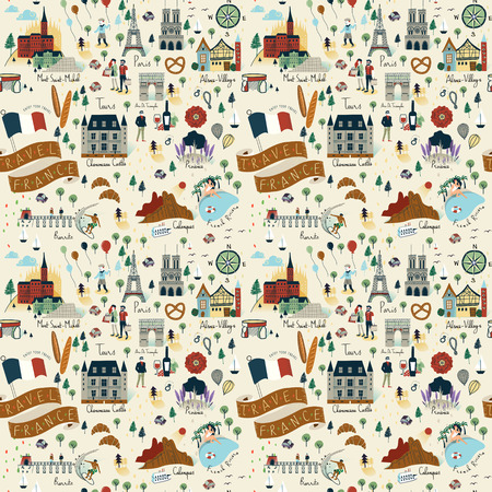repeating background: Seamless pattern of landmarks and popular things in France - Travel concept background.
