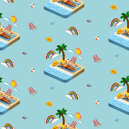 夏レクリエーション概念 3 d アイソ メトリック インフォ グラフィックと青い背景の日光浴シーンのシームレス パターン