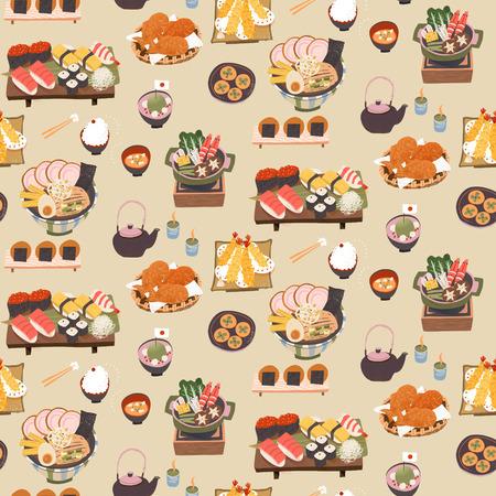 평면 스타일의 일본식 맛있는 식사 원활한 패턴 일러스트