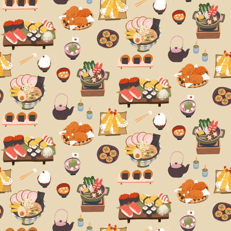 fried shrimp: Japanese delicious meal seamless pattern in flat style