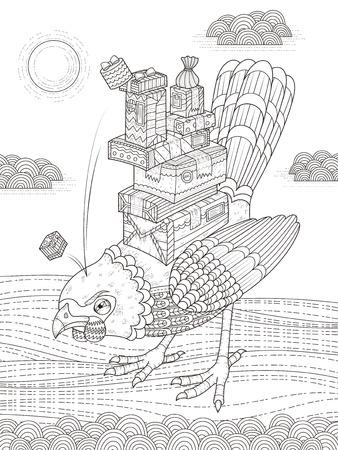 brings: angry bird brings presents - adult coloring page