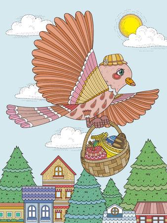 brings: lovely bird brings food - adult coloring page