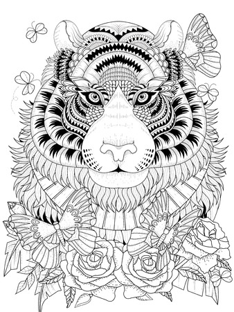 tiger page: Imposing tiger with floral element - adult coloring page