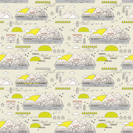 beige background: Seamless pattern of old town with mountains and houses on beige background Illustration