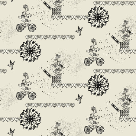 flower patterns: Seamless floral pattern in vintage style over beige background