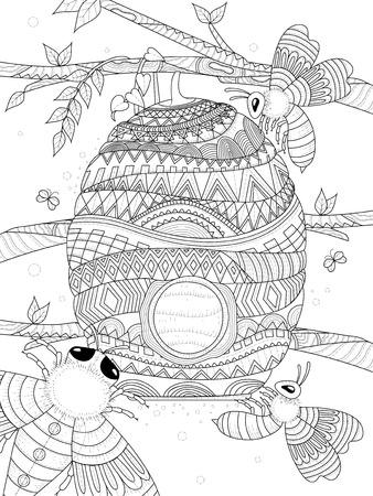 성인 색칠 페이지 - 꿀벌은 벌집 주위를 날아