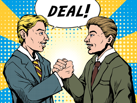 cooperate: pop art illustration - businessman make a deal successfully in retro comic style