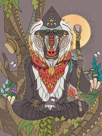 baboon: wisdom elder baboon crossed-legged in tree - adult coloring page