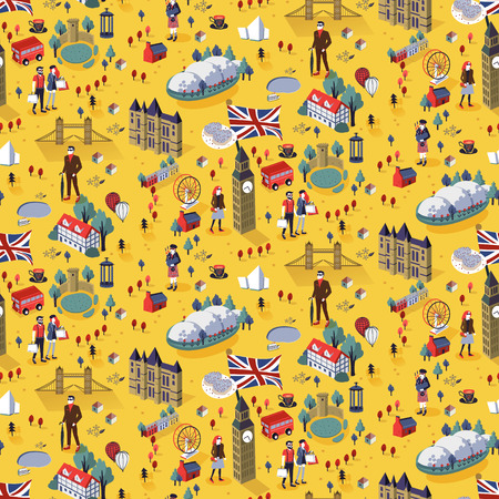 kingdom: Seamless pattern of famous landmarks and popular things in London city