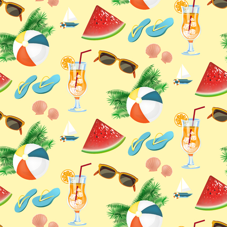 coctel de frutas: Seamless pattern of summer holiday icons set in flat design Vectores