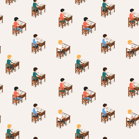 Seamless pattern of students sitting in classroom and studying
