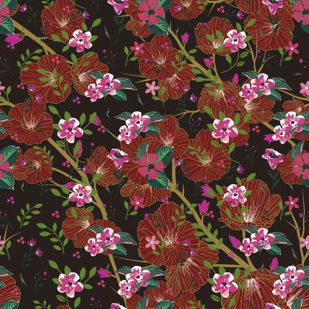 mixed: Seamless pattern of mixed flowers over brown background