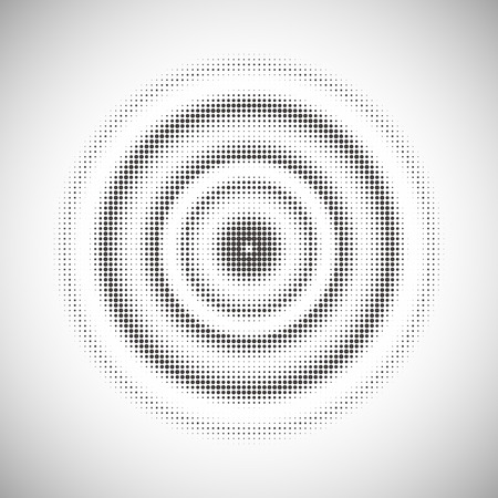 textured effect: abstract dotted monochrome background in concentric circle Illustration