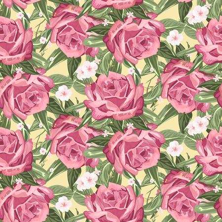 flower arrangement: Retro seamless hand drawn rose pattern over beige background