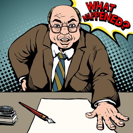 persona enojada: anciano grita lo que pasó y golpea la mesa en el estilo del arte pop