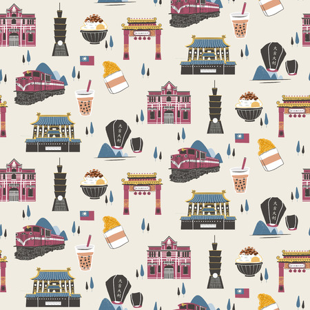 night market: Seamless pattern of Taiwan travel concept in flat design style