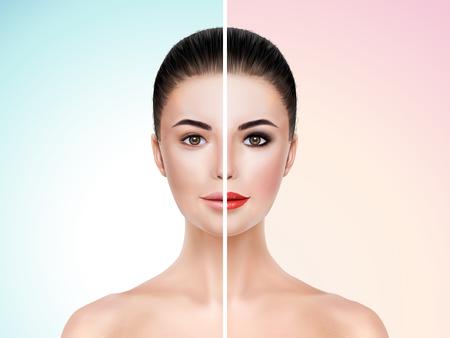 halves: Beautiful model before and after makeup face comparison - 3d illustration Illustration