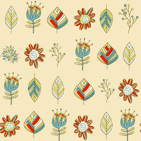 beige background: Colorful cartoon seamless pattern with flowers and leaves over beige background Illustration