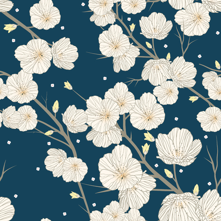 Cherry blossom seamless pattern over blue background 向量圖像