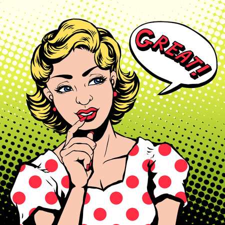 says: woman says GREAT in pop art style