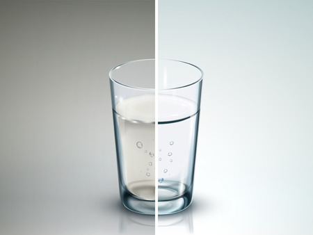 dirty water: comparison of two glasses of water - 3D illustration