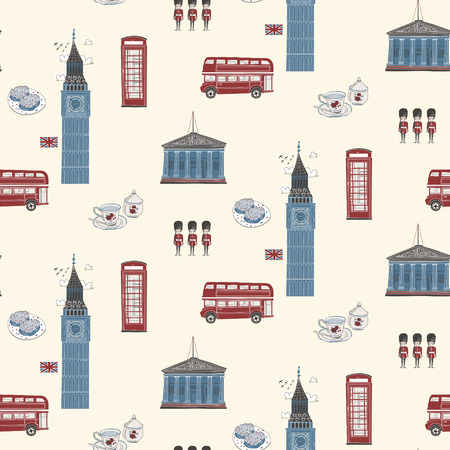 british food: Seamless pattern of England travel concept in flat design style