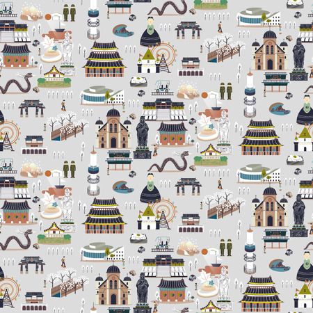 Lovely South Korea attractions collection in seamless pattern 向量圖像