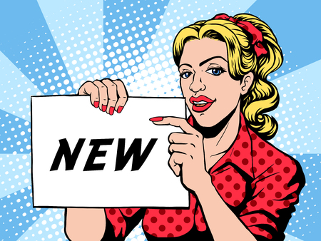 lady in red: woman holding NEW word card in pop art style