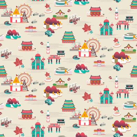 베이지 색 배경 위에 평면 디자인에서 멋진 한국 여행 명소