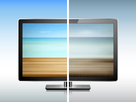 compare: comparison of TV resolution 3D illustration - clear and blurry images quality Illustration