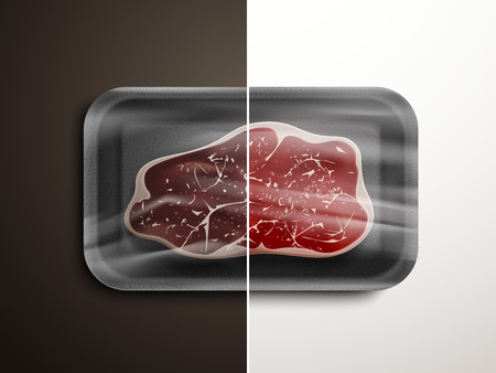 comparison of meat quality - stale and fresh meat 3D illustration