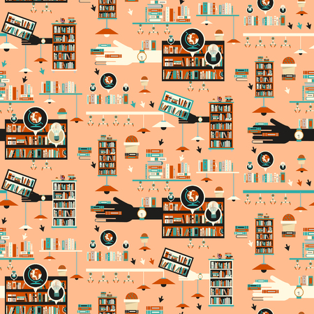 graphic novel: Library scene illustration in flat design style with bookshelves over orange background Illustration