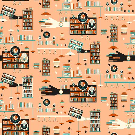 libraries: Library scene illustration in flat design style with bookshelves over orange background Illustration