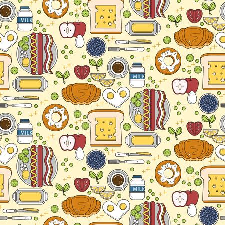 nutritious: Seamless pattern of nutritious breakfast set in flat design