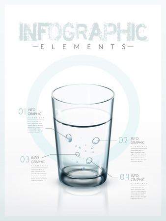 drinkable: infographic template design with a glass of clean water. 3D illustration