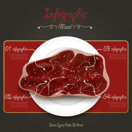 nourishment: meat house poster template design with beef. 3D illustration Illustration