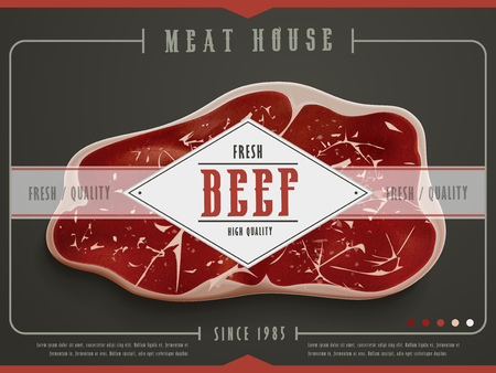 ground beef: meat house poster template design with beef. 3D illustration Illustration