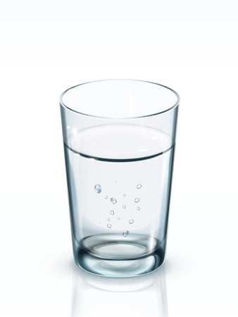 safe drinking water: A glass of clean water. 3D illustration