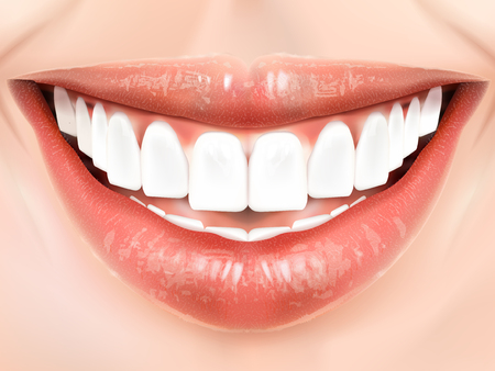 oral hygiene: Pearl white teeth. Oral hygiene concept 3D illustration Illustration