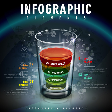 drinkable: infographic template design with a glass of colorful liquid. 3D illustration
