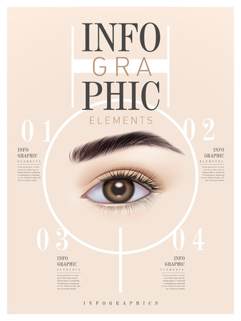 Diseño del modelo de infografía con el ojo humano. ilustración 3D Ilustración de vector